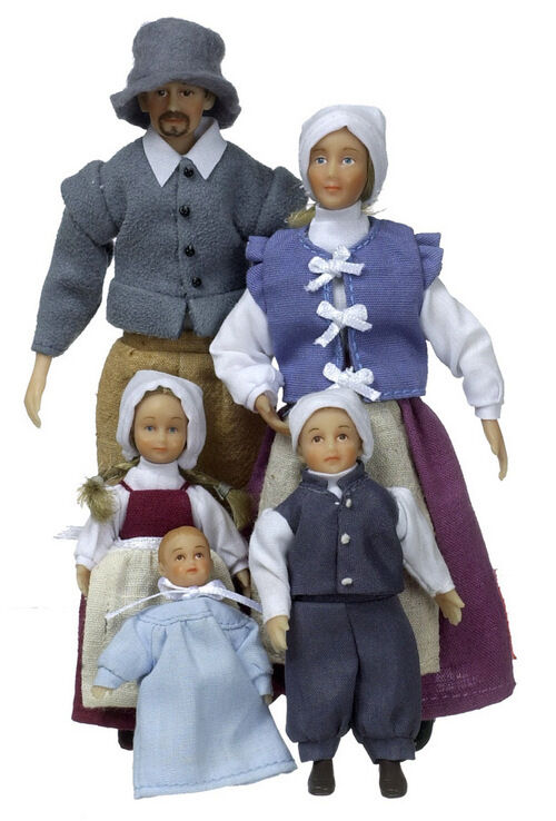 Dollhouse Miniature poly resin Phelps Colonial doll family