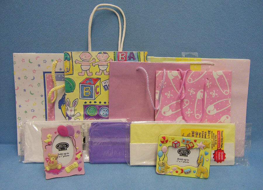 Baby Gift Item : Lot of items gift bags picture frames tissue paper