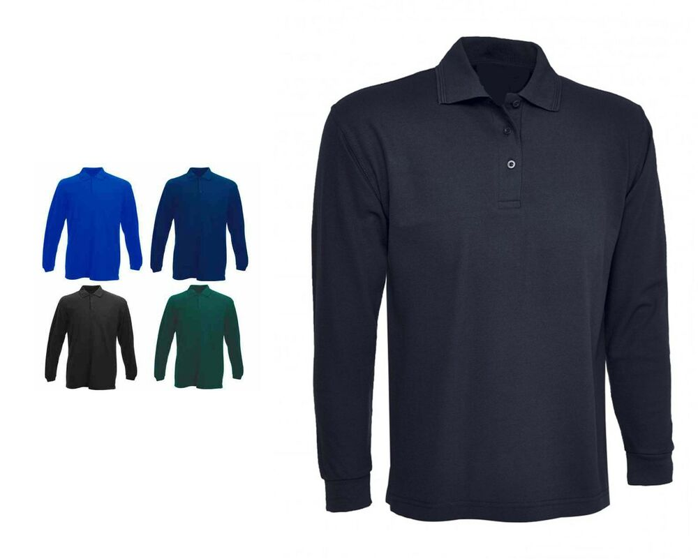 Mens Long Sleeve Classic Polo T Shirts Size Xs To 4xl