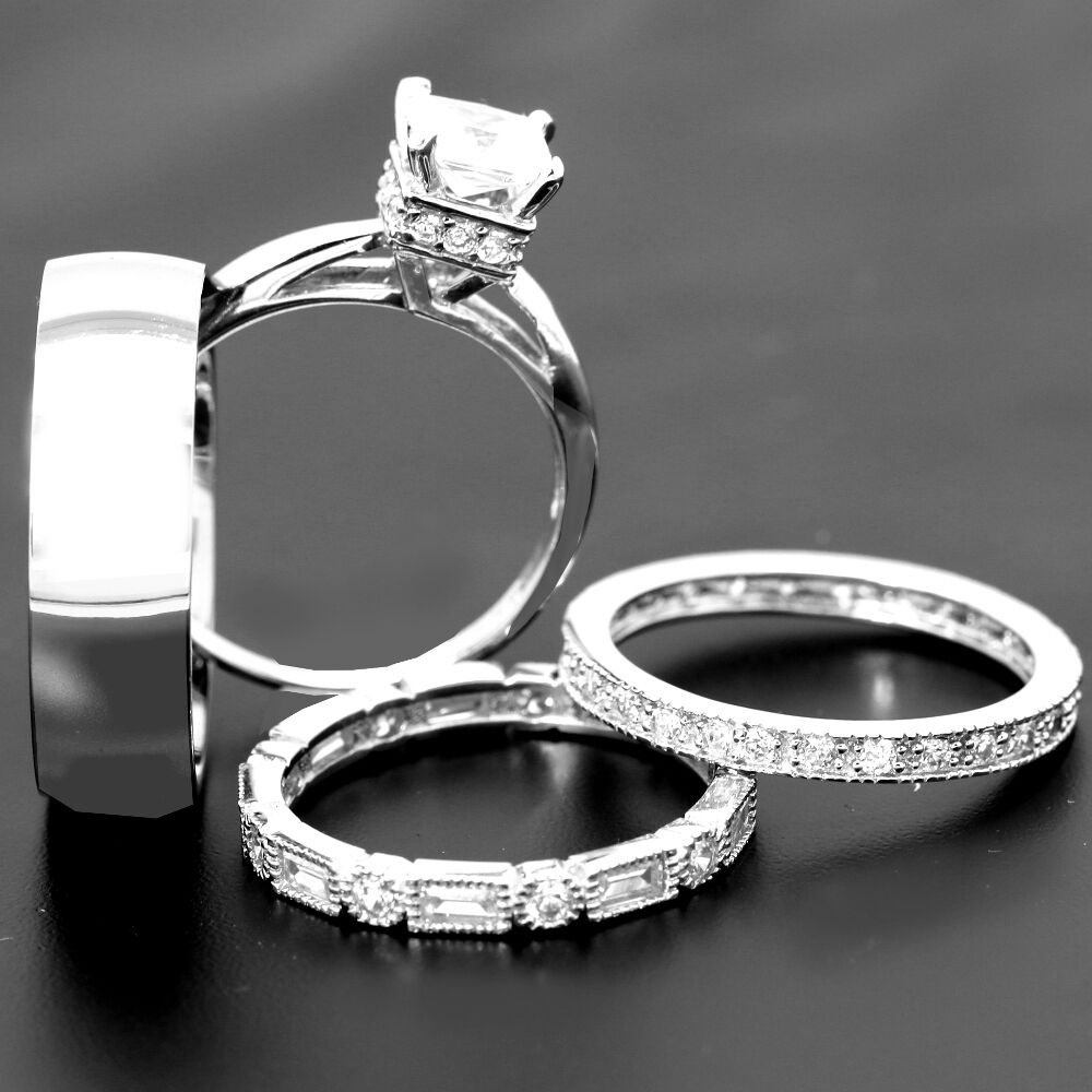 Matching Bands: 4 His And Hers TITANIUM & STERLING SILVER Wedding Bridal