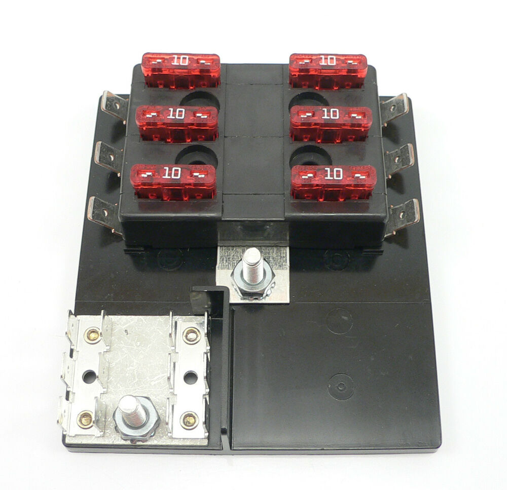 Per060 Ato Atc Fuse Block Panel Terminal 6 Gang  U0026 Ground Marine Rv Boat 15600