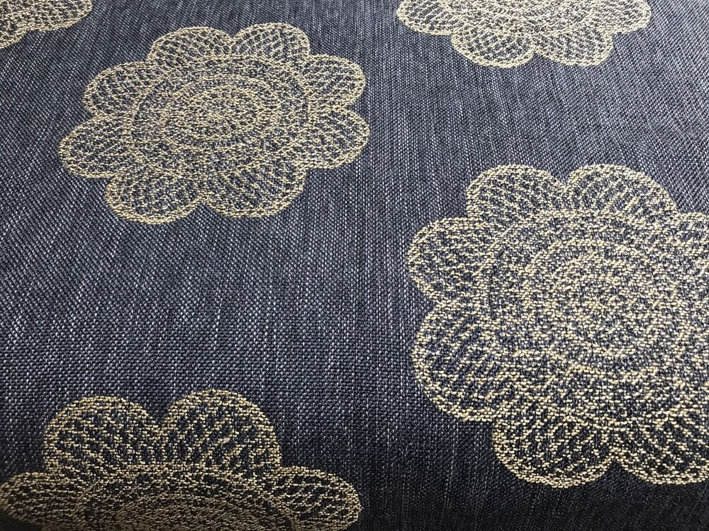 yellow floral on gray texture upholstery fabric 2 5 yds ebay. Black Bedroom Furniture Sets. Home Design Ideas