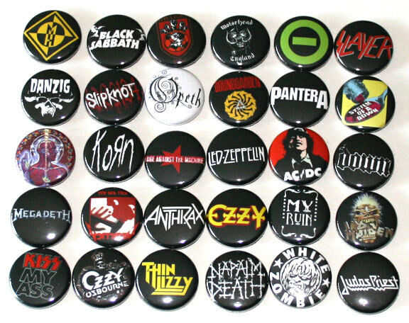 heavy metal rock music badges x 30 buttons pins bulk lot. Black Bedroom Furniture Sets. Home Design Ideas