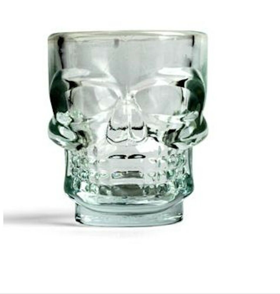 skull shot glasses set of 4 oversized 1 5 oz glass shooters ebay. Black Bedroom Furniture Sets. Home Design Ideas