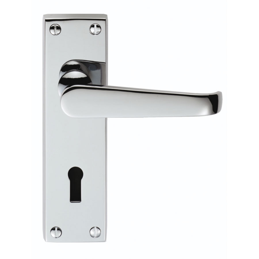 Lever Handle Lock : Victorian lever lock handle flat brass or