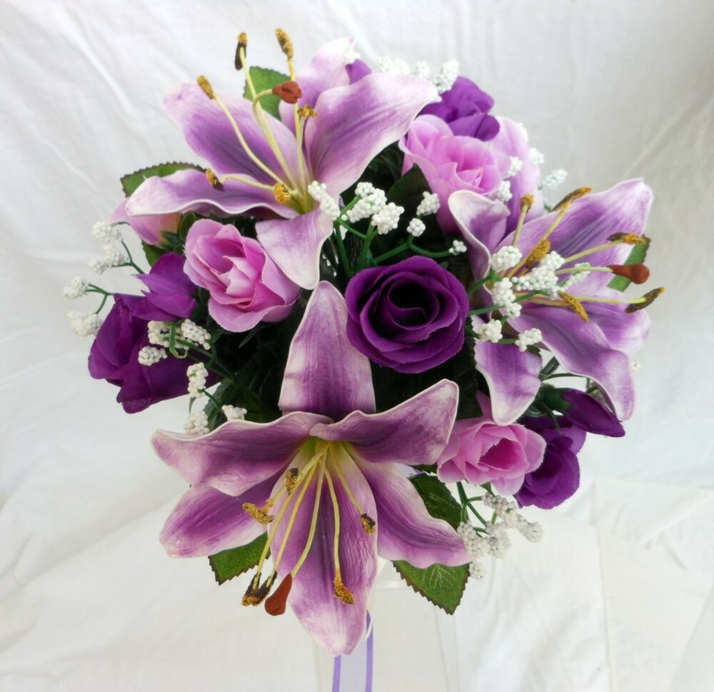Purple And Pink Wedding Flowers: Bridesmaids Wedding Bouquet, Purple Tiger Lillies, Ivory