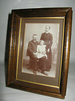 Antique Wood Shadow Box Picture Frame w/ Husband and Wife