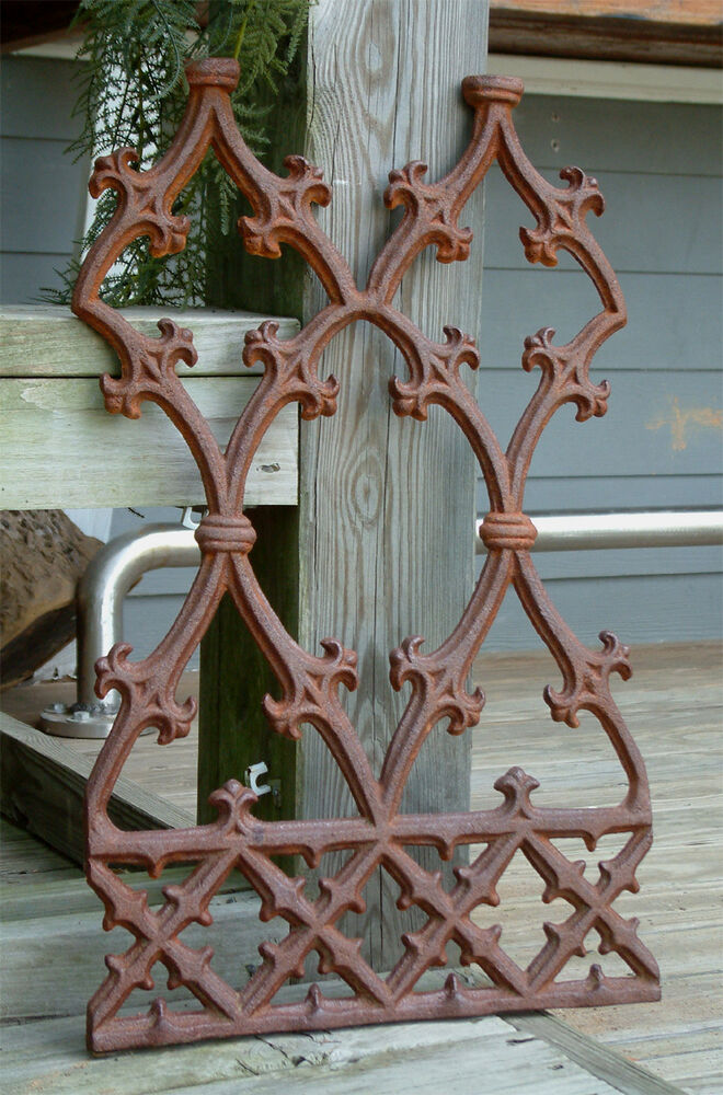 Gothic panel grate cast iron garden crest wrought