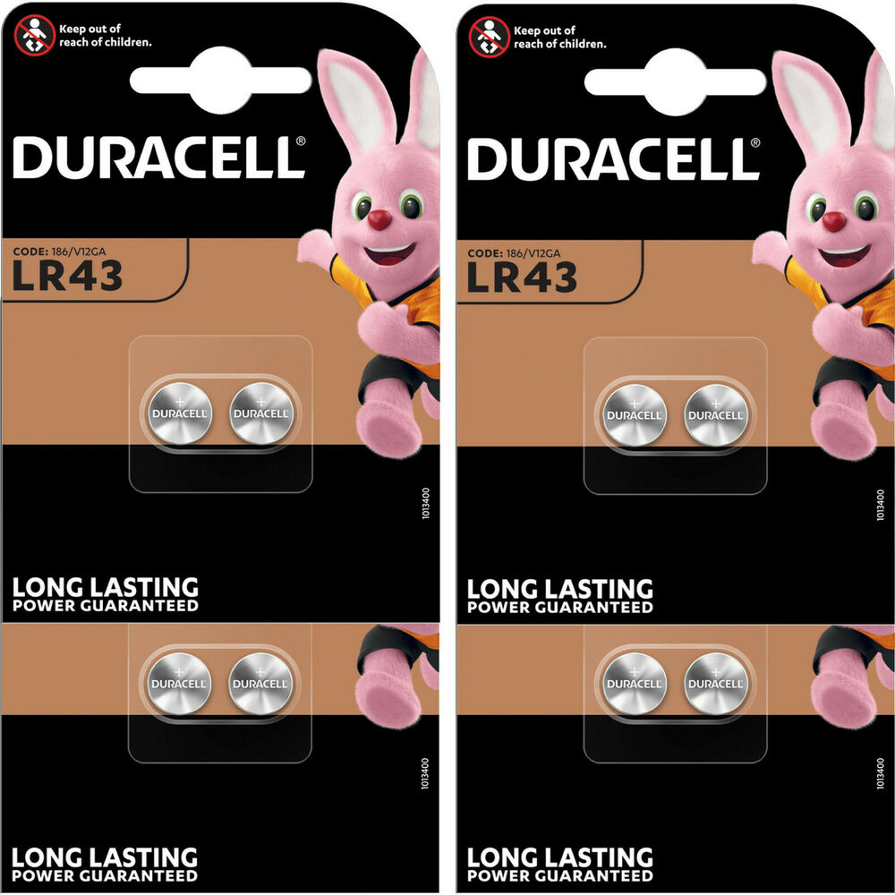 8 x lr43 duracell alkaline coin batteries 186 v12ga ag12 for Batteria bottone lr1130