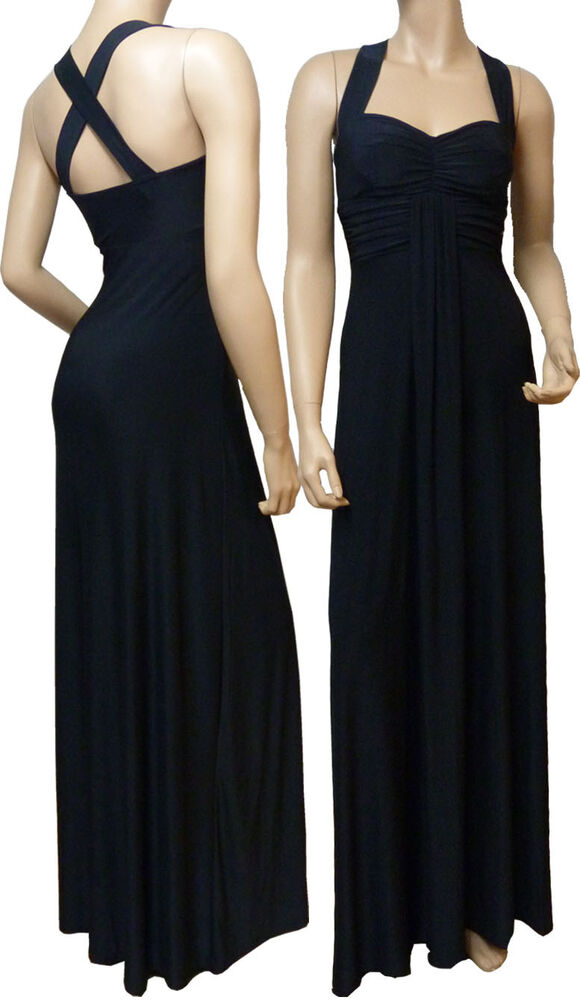 Long Evening Cross Back Maxi Dress (Black - D1010)