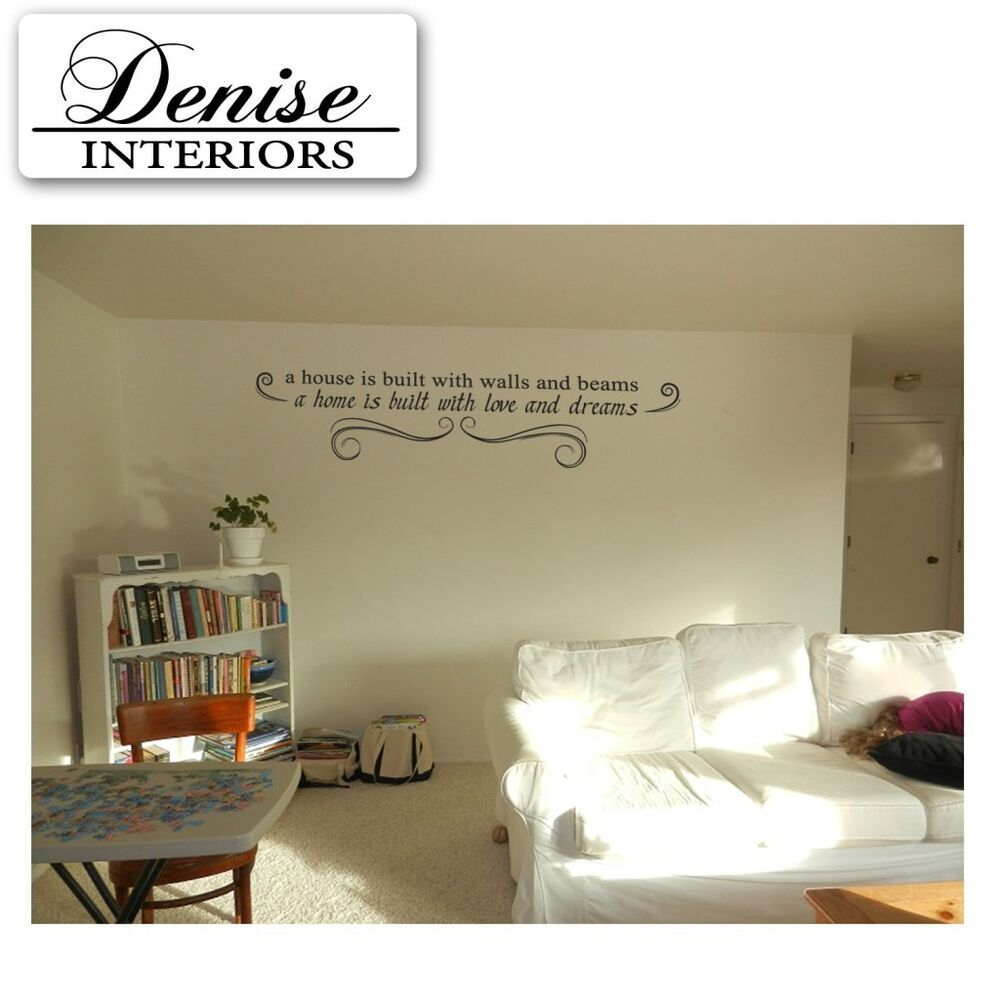 Home decor inspiration wall quote art work vinyl stickers for Home decorations on ebay
