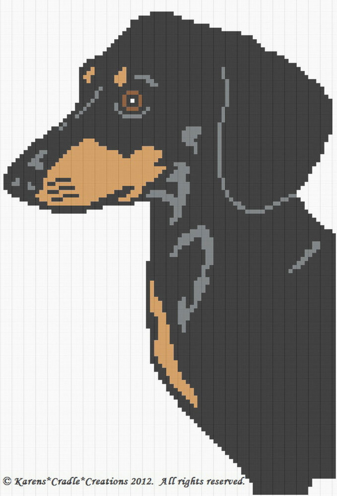 Crochet Patterns Dachshund Dog Graph Afghan Pattern