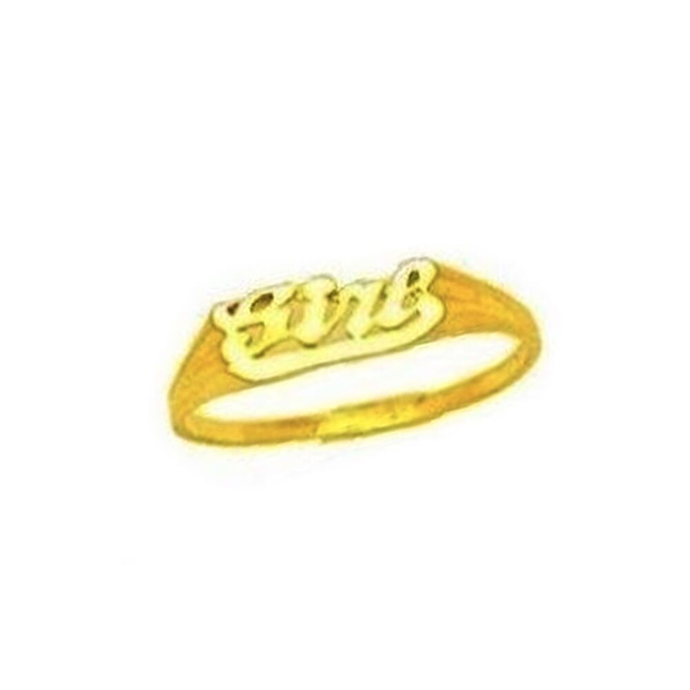Children 39 S 14k Solid Yellow Gold Baby Girl Kids Ring Ebay
