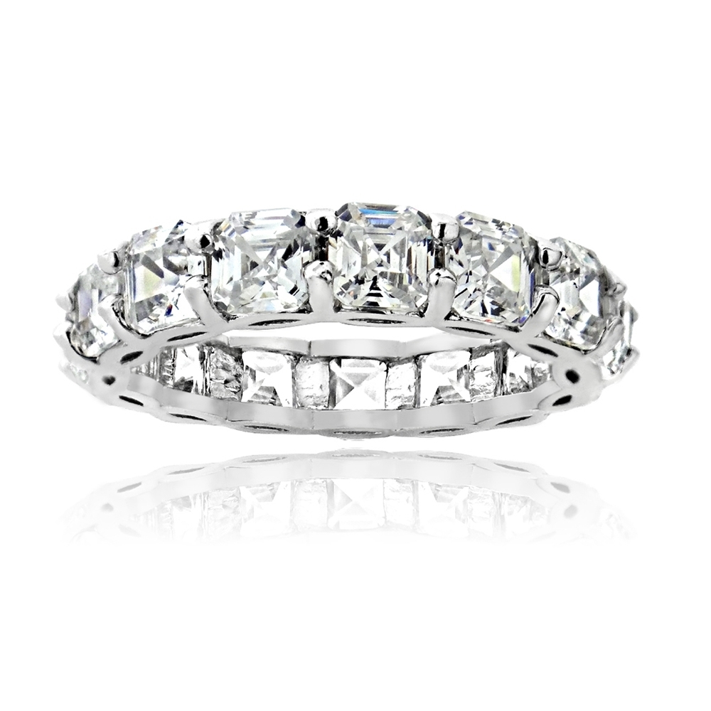 925 Sterling Silver 5.85ct Asscher-Cut CZ Eternity Wedding ...