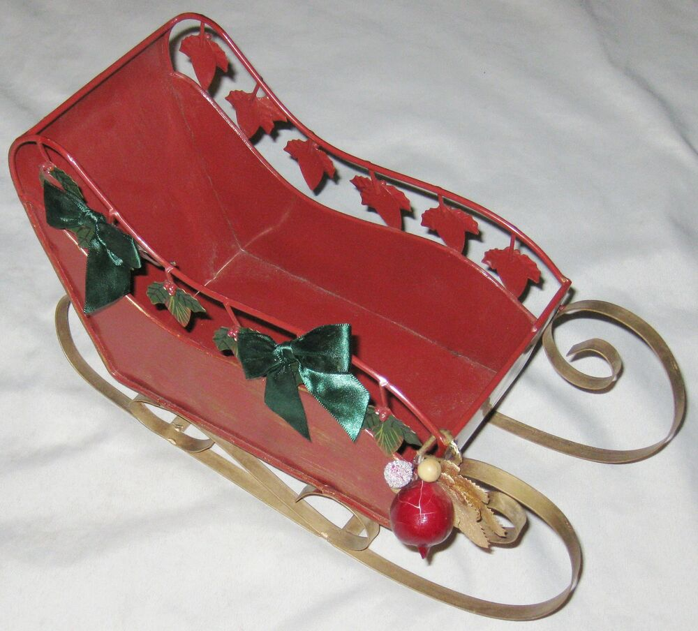 "Red Goldtone Metal 14"" Sleigh Centerpiece Christmas"