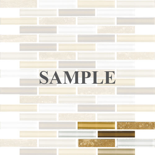 Sample Marble Green Brown Glass Linear Mosaic Tile: SAMPLE- Cream Brown White Stone Glass Linear Mosaic Tile