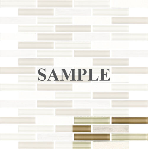 Sample White Glass Stone Metal Linear Glass Mosaic Tile: SAMPLE- Gray Linear Glass Stone Mosaic Tile Kitchen