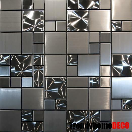 Kitchen Wall Tile Backsplash: SAMPLE- Unique Stainless Steel Pattern Mosaic Tile Kitchen
