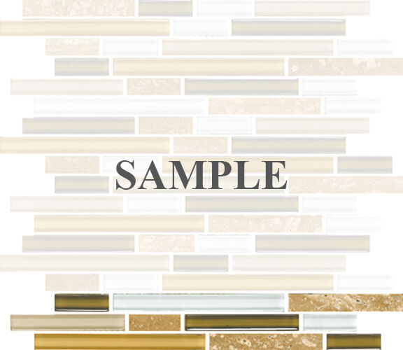 Sample Marble Green Brown Glass Linear Mosaic Tile: SAMPLE- Cream Brown Beige White Linear Glass Mosaic Tile