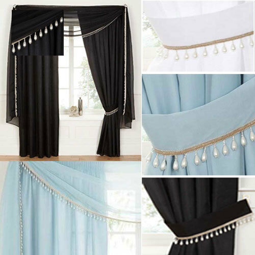 Voile Lace LINED Curtains COMPLETE set Including MACRAME Scarf Tie backs eBay