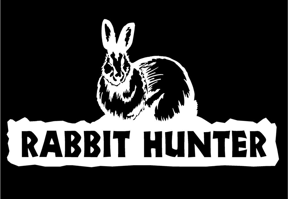 rabbit hunter decal with hare hunting car truck window