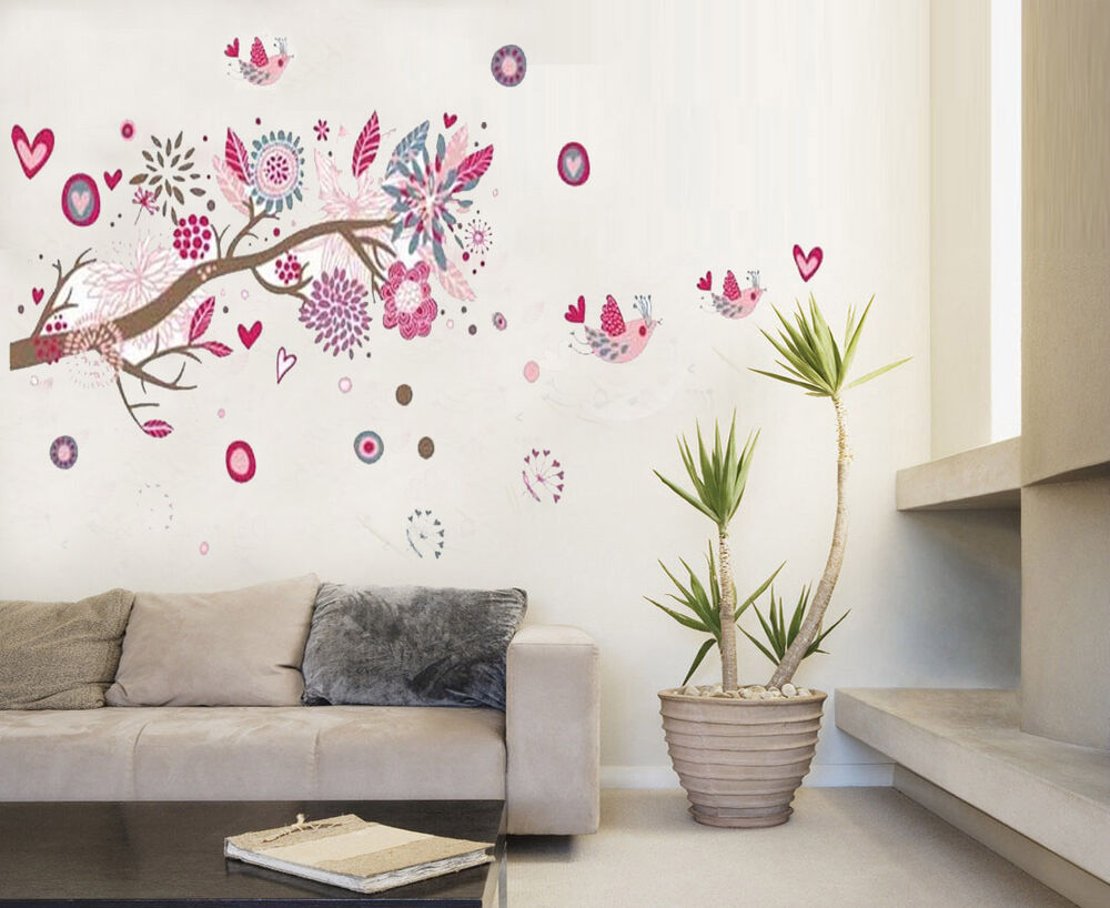 Pink flowers tree living wall stickers art mural children for Tree wallpaper for walls