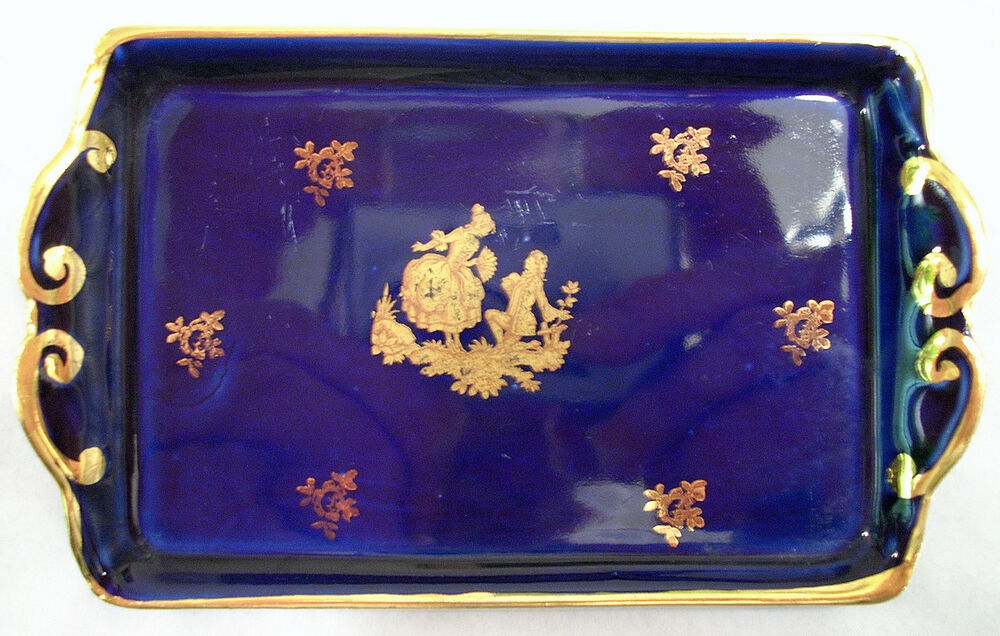f f limoges france veritable porcelaine d 39 art small cobalt blue pin tray ebay. Black Bedroom Furniture Sets. Home Design Ideas