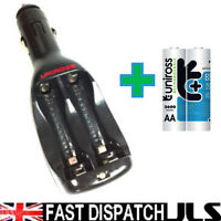 UNIROSS CAR 12V BATTERY CHARGER + 2 x AA 2600 mAh Rechargeable Batteries