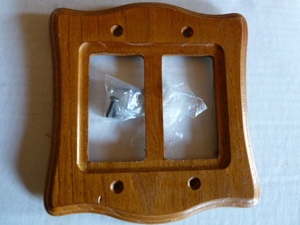 Gang toggle stained solid wood oak switch plate cover