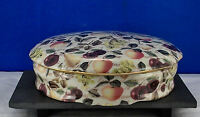 "EDEN FRUIT CHINTZ,FORMALITIES BY BAUM BROS. Candy Coffee Table 7 3/4"" Dish w/lid"