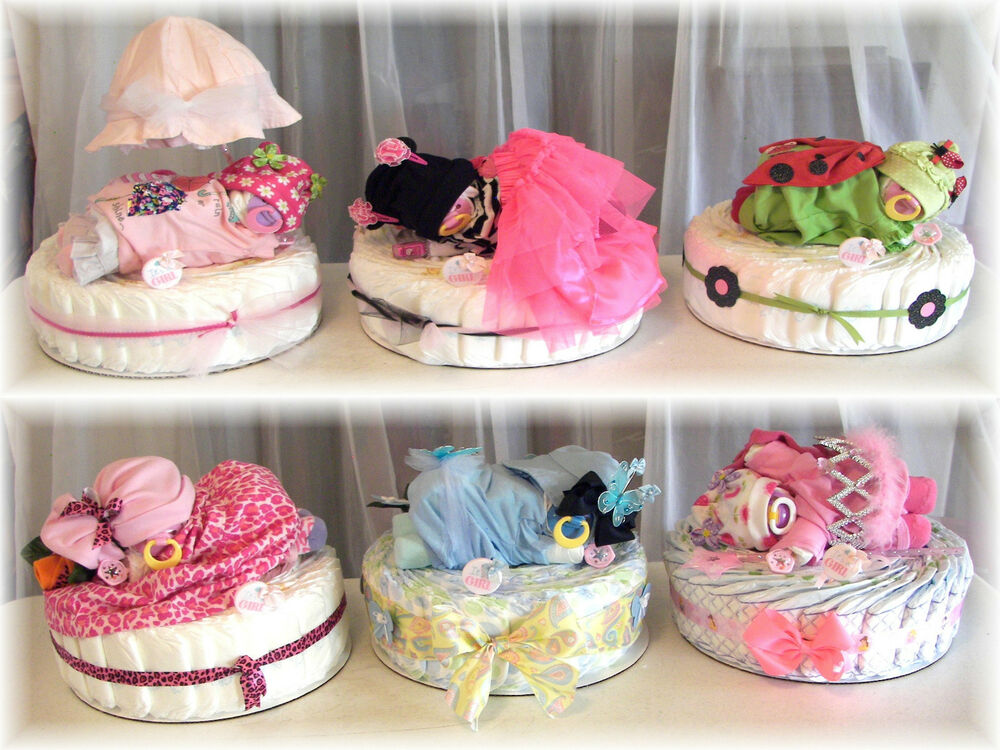 Baby shower girl diaper baby cake custom you pick name for Baby shower decoration ideas with diapers
