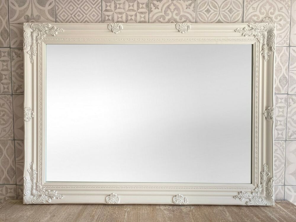Large ornate antique french shabby chic wall mirror for Bathroom wall mirrors large