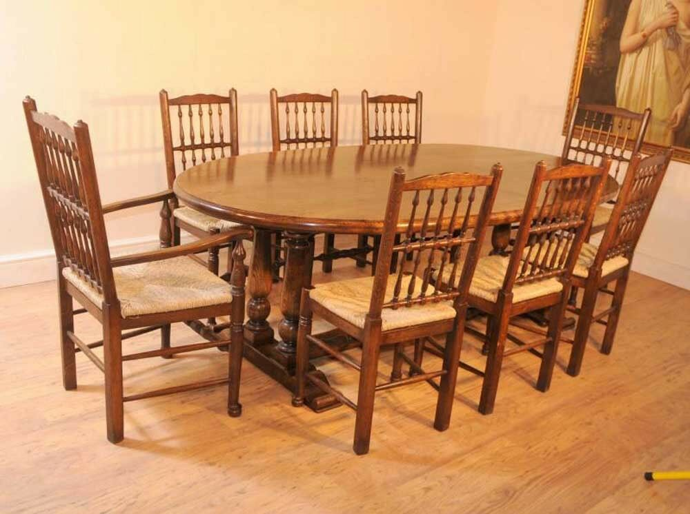 Oak kitchen refectory table dining set spindleback chairs for Oak dining table set