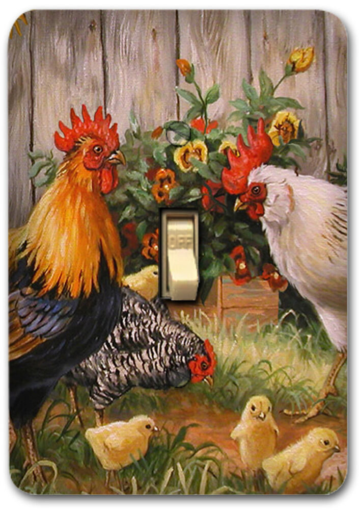Rooster Farm Animal Country Metal Single Light Switch