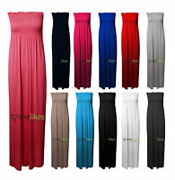 Womens Ladies Sheering Gather Boobtube Bandeau Long Summer Strapless Maxi Dress