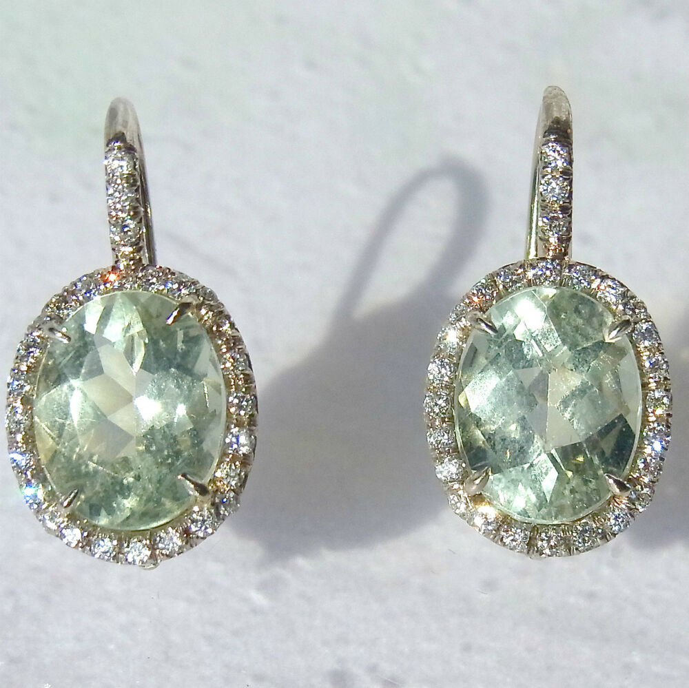 10cts green amethyst diamonds and 18k white gold dangle. Black Bedroom Furniture Sets. Home Design Ideas