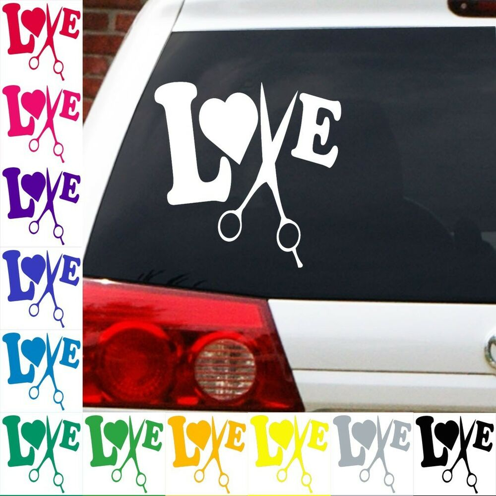Hair stylist love to cut decal sticker salon beautician ebay for Stickers salon