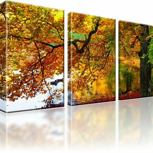 herbst see baum ente bild kunstdruck 3 teilige bilder leinwand deko ebay. Black Bedroom Furniture Sets. Home Design Ideas