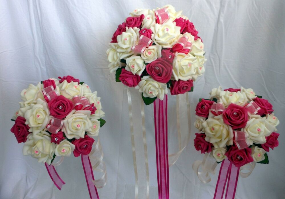 wedding bouquet package ivory fuchsia roses ebay. Black Bedroom Furniture Sets. Home Design Ideas