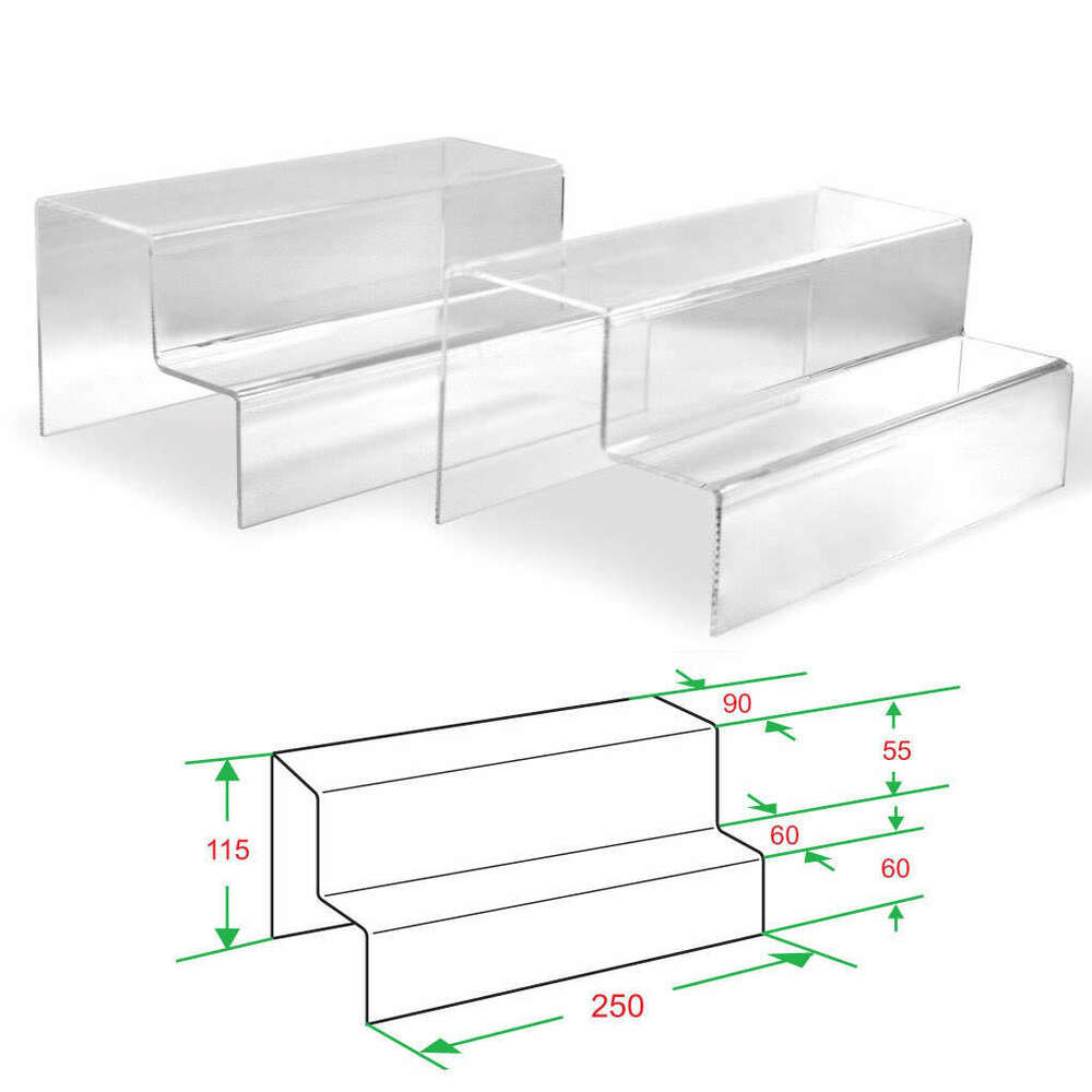2x Clear Acrylic 2 Tier Steps Display Riser Stand Jewelry