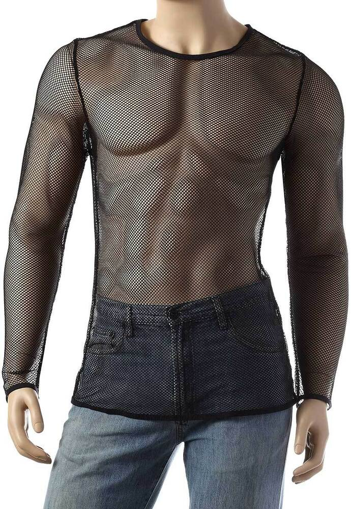 Mens Long Sleeve Mesh Top Round Neck Small Hole Fishnet T ...