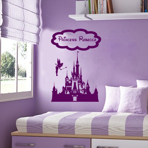 princess fairy castle disney personalized vinyl wall decal. Black Bedroom Furniture Sets. Home Design Ideas