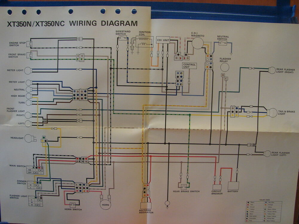 nos yamaha factory wiring diagram 1985 xt350 n xt350 nc ebay. Black Bedroom Furniture Sets. Home Design Ideas