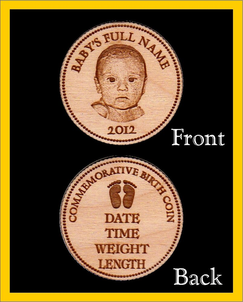 10 Personalized Engraved Wood Commemorative Birth Coins