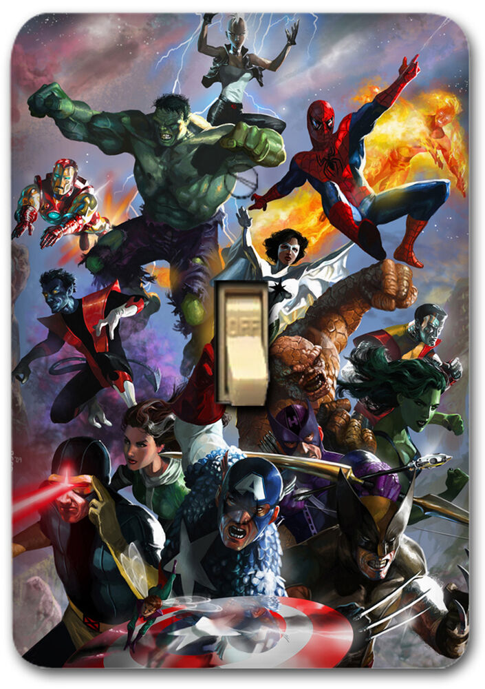 marvel comic design american hero metal light switch plate cover home