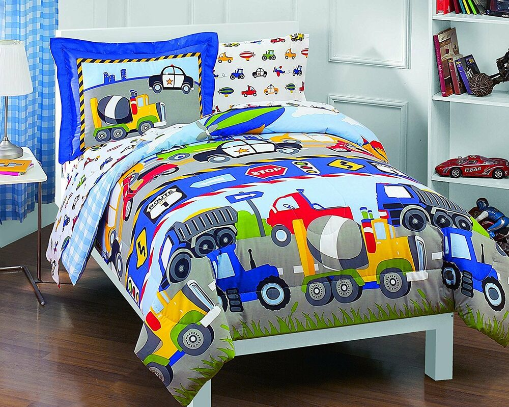 5 Pc TRUCKS CARS PLANES POLICE COMFORTER CONSTRUCTION BOYS QUILT SET TWIN NEW!!