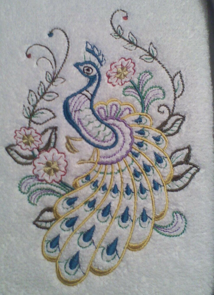 Peacock and flowers new design embroidered set 2 bathroom for Bathroom embroidery designs