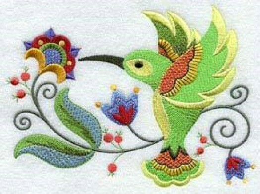 Jacobean hummingbird new design embroidered set 2 bathroom for Bathroom embroidery designs