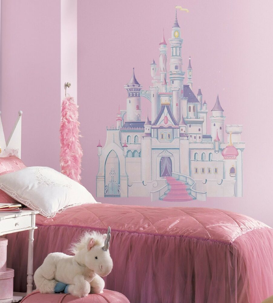 Disney princess castle giant 42 removable vinyl wall for Castle wall mural sticker