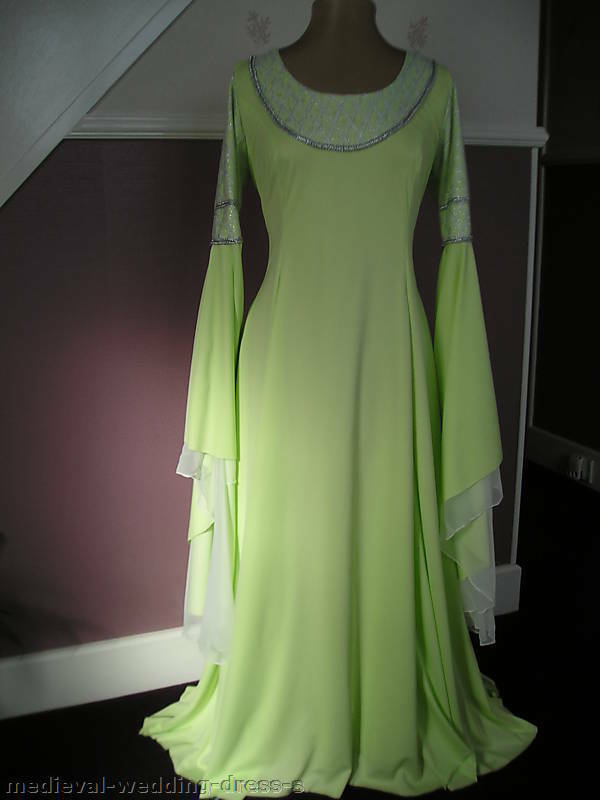 Medieval Lotr Style Wedding Arwen Long Green Dress For